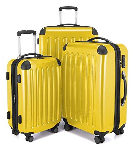 HAUPTSTADTKOFFER - Alex - 3er Koffer-Set Trolley-Set Rollkoffer Reisekoffer Erweiterbar, 4 Rollen, TSA, (S, M & L), Gelb