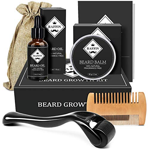 Beard Growth Kit for Mens Gifts, Beard Kit with Beard Roller Beard Growth Oil Beard Balm Beard Comb for Growing Beards, Fathers Day Gifts for Men