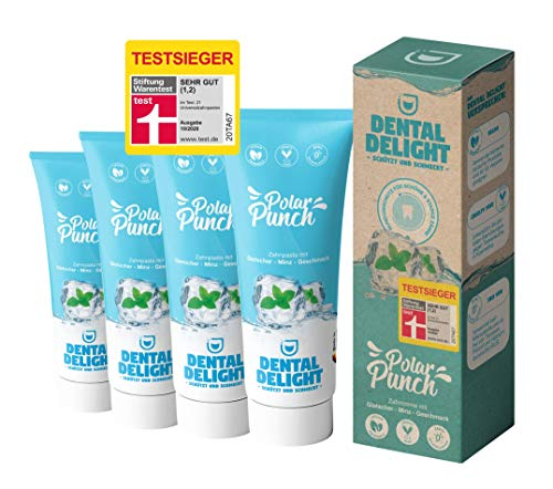 TESTSIEGER bei Stiftung Warentest (Note 1,2 SEHR GUT): DENTAL DELIGHT Polar Punch 4er-Pack Zahncreme Gletscher-Minze Vegan Klimaneutral Mikroplastik-frei