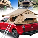 Rooftop Truck Camping Portable Tent,SUV Truck Camping Rooftop Tent with Ladder, 280TC Waterproof and 2 Front Doors/2 Side Mesh Windows for Truck SUV Car (3-4 People)