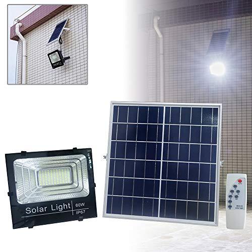 AUFUN LED Solar Strahler 60W Solar Flutlicht mit Fernbedienung LED Solarleuchte mit Timer-Funktion 132 LEDs Wasserdicht IP67 für Hof, Garten, Terrasse, Zuhause Garagen Parks
