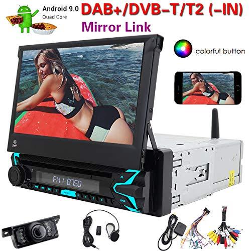 Android 9.0 Car Stereo Single 1 DIN Car DVD CD Player Bluetooth Radio GPS Navigation Phone Mirror WiFi OBD2 1080P Subwoofer Video Autoradio Head Unit Free Camera + External Mic