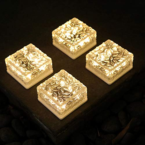 Reasin 4 Pack Solar Ice Cube Lights Glass Brick Light Solar Brick Light 6LED Crystal Brick Light Waterproof or Outdoor Garden Patio Yard Lawn Pool Decoration (Warm White)