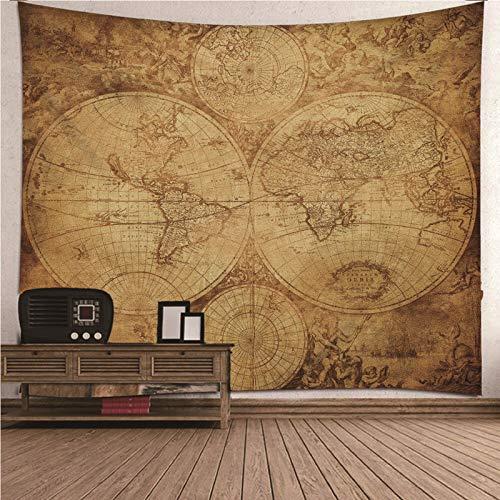 Beydodo Tapices Colgar,Patrón de Mapa del Mundo Vintage Marrón Tapices de Pared Poliester Tapiz Vintage 240x220CM