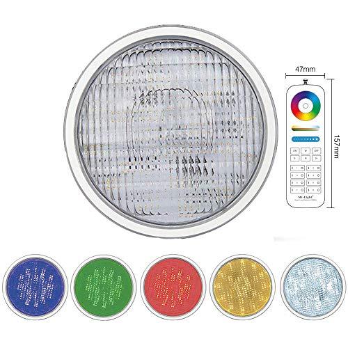 LED PAR56 RGB+CCT Poollampe Poolleuchte Poolbeleuchtung Lampe für Unterwasser Unterwasscheinwerfer MiLight PW01 Farbwechsel und Weiß CCT mit Fernbedienung oder App Alexa DMX (Einzeln+Fernbedienung)