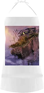 TecBillion Fantasy Utility Cotton Linen Apron,Old House Over The Cliffs on High Pink Sky Dreamy World Magical Foggy Town Image for Home,19.88
