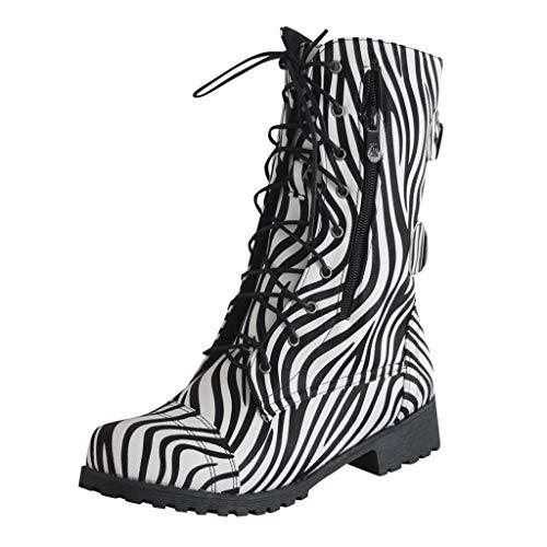 LIHAEI Stiefel Winter Damen GefüTtert Wasserdicht Animal Print Stiefeletten GeschnüRt Reiten Gummi Ankle Boots