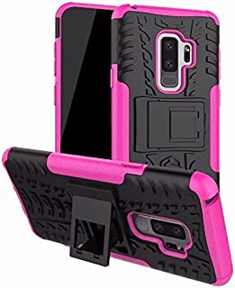 Protective Case Compatible with Samsung Dual Layer Hybrid Armor Kickstand 2 in 1 Shockproof Case Cover Compatible Samsung Galaxy S9 Plus Phone case (Color : Pink)