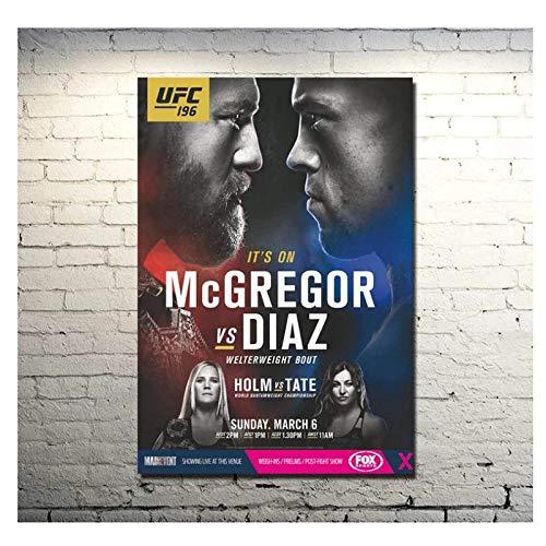 WTYBGDAN UFC 196 Conor McGregor Vs Nate Diaz MMA Poster Et Impressions Sur Toile Décoration Murale -20X30 Inch No Frame(50X75Cm