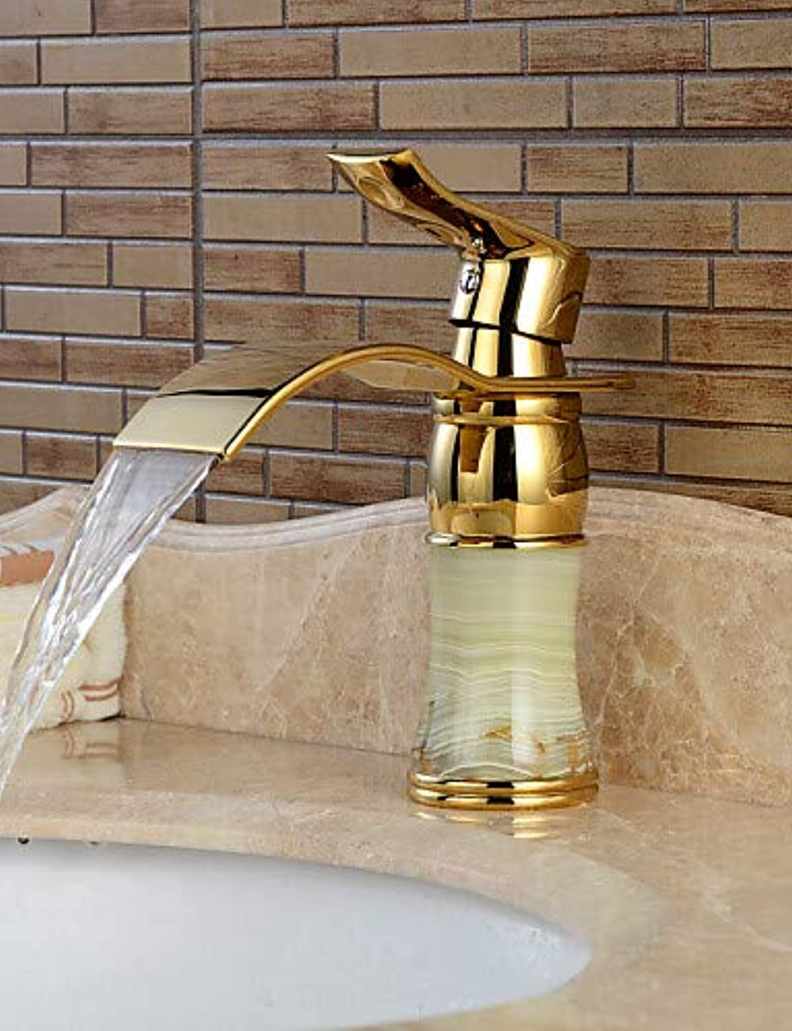 Mainstream home LPZSQ Tap Centerset Single Handle One Hole in Ti-PVD Bathroom Sink Faucet, golden+white  1078