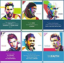 Vantagekart Football Players Inspirational Motivational Self Adhesive Laminated Posters (Paper, 44.5 x 29.5 x 0.1 cm, Mix Colour) - Set of 6