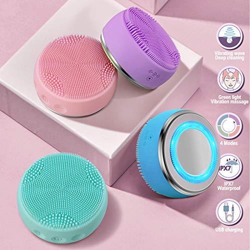 spazzola pulizia viso detergente viso - IPx7 impermeabile ricaricabile elettrica elettrico kit scrub viso 4 modalità massaggiatore sauna ultrasuoni esfoliante viso antirughe Anti-età skin care (blu)
