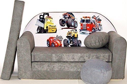 Pro Cosmo Sofá A14 Cama con Puff/reposapiés/Almohada, Hecho de Tela Gris, tamaño de 168x 98x 60cm