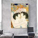 CloudShang Gustav Klimt Estética Salon de Decoracion De la Lona Pintura Familia Arte Cuadro Gustav Klimt Famosos Madre Recamara Mellizos Bebé por Gustav Klimt Arte G12090