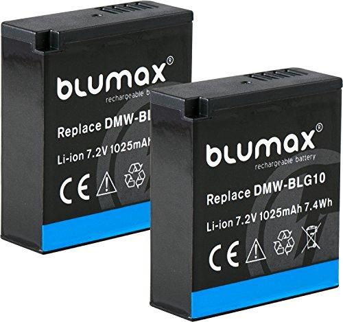 Blumax 2X Akku für Panasonic DMW-BLG10 BLG10e 1025mAh 7,2V 7.4Wh - kompatibel mit Panasonic Lumix DC TZ91 DMC TZ101 TZ81 GF6 GX7 GX80 G110