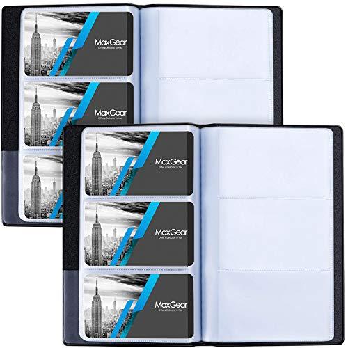 MaxGear 2 Pack Business Card Organizer Business Card Holder Book, Portable Business Card Binder File Sleeve Storage, Business Card Holders, Name Card Holder for Men & Women, Capacity: 240 Cards, Black