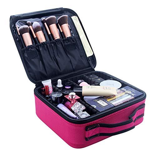 Boodtag Sac de Maquillage Étanche Femme Sac Maquillage Zippé Trousse à Maquillage Organiser Cosmétique Portable Rose rouge 26 * 23 * 9cm