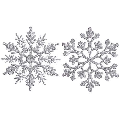 Sea Team Plastic Christmas Glitter Snowflake Ornaments Christmas Tree Decorations, 4-inch, Set of 36, Silver