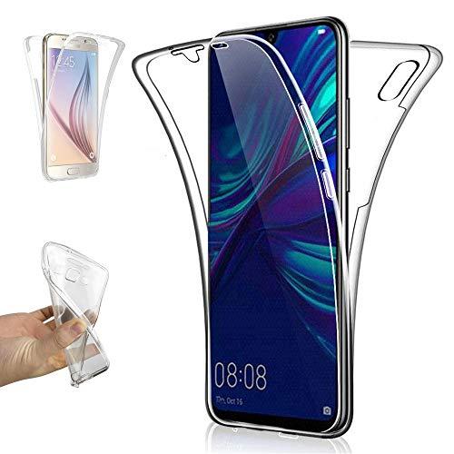REY - Funda Carcasa Gel Transparente Doble 360º para Huawei Y6 2019 / Y6 Pro 2019, Ultra Fina 0,33mm, Silicona TPU de Alta Resistencia y Flexibilidad
