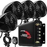 Aileap 1000W 4 Canales de Motocicleta Amplificador 4' Full Range Impermeable Bluetooth Motocicleta Altavoces estéreo Sistema de Audio con Radio FM para 1-1,5' Manillar ATV UTV (Negro, Ventilador)