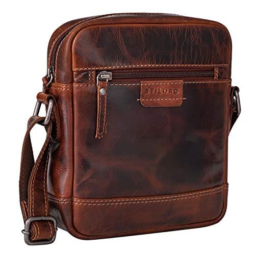 STILORD 'Brian' Borsa Uomo Piccola in Pelle Borsetta a Tracolla Vintage Borsello Crossbody Messenger Bag Mini Donna, Colore:milano - marrone