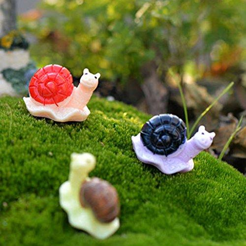 FLAMEER 10Pcs / Set Mini Tiere Modell Micro Feegarten Figuren Miniaturen Home Garten Decor - Schnecke