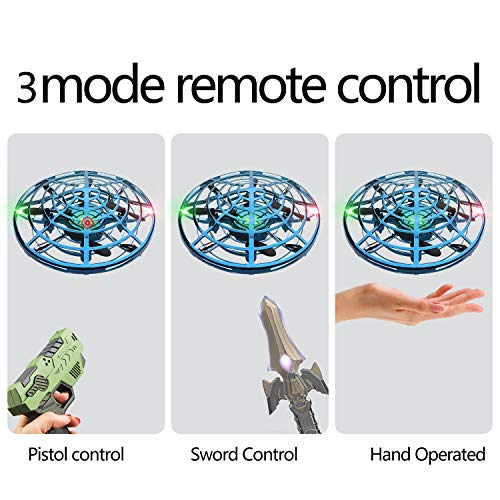 IOKUKI 3 in 1 Hand Operated Drones for Kids or Adult - with Hand/Toy Gun/Sword-Controlled Flying Ball Cool Toys for 5 6 7 8 9 10 11 12 Years Blue New Mexico