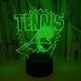 LIkaxyd LED 3D Night Light, lampe à illusion d'optique 7 couleurs changeantes, tactile USB et batterie jouet lampe décorative,Meilleur cadeau pour les enfants-Tennis et raquettes