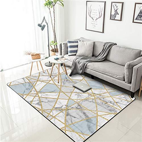 RHSML Teppich, Moderner Teppich Aus Weißem Marmor, Gold, Geeignet Für Schlafzimmer, Wohnzimmer, Esszimmer, Veranda, Matte, Teppichboden,Blau,160 * 230CM