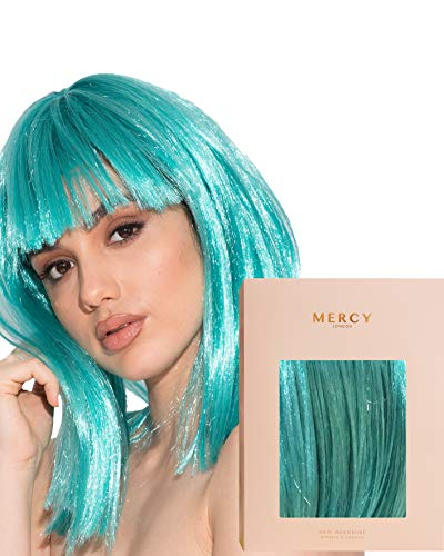 Extraterrestrial Turquoise Wig ✮ Party Blue Teal Turquoise Bob Wig for Festivals Raves by Mercy in Cropped Fringe