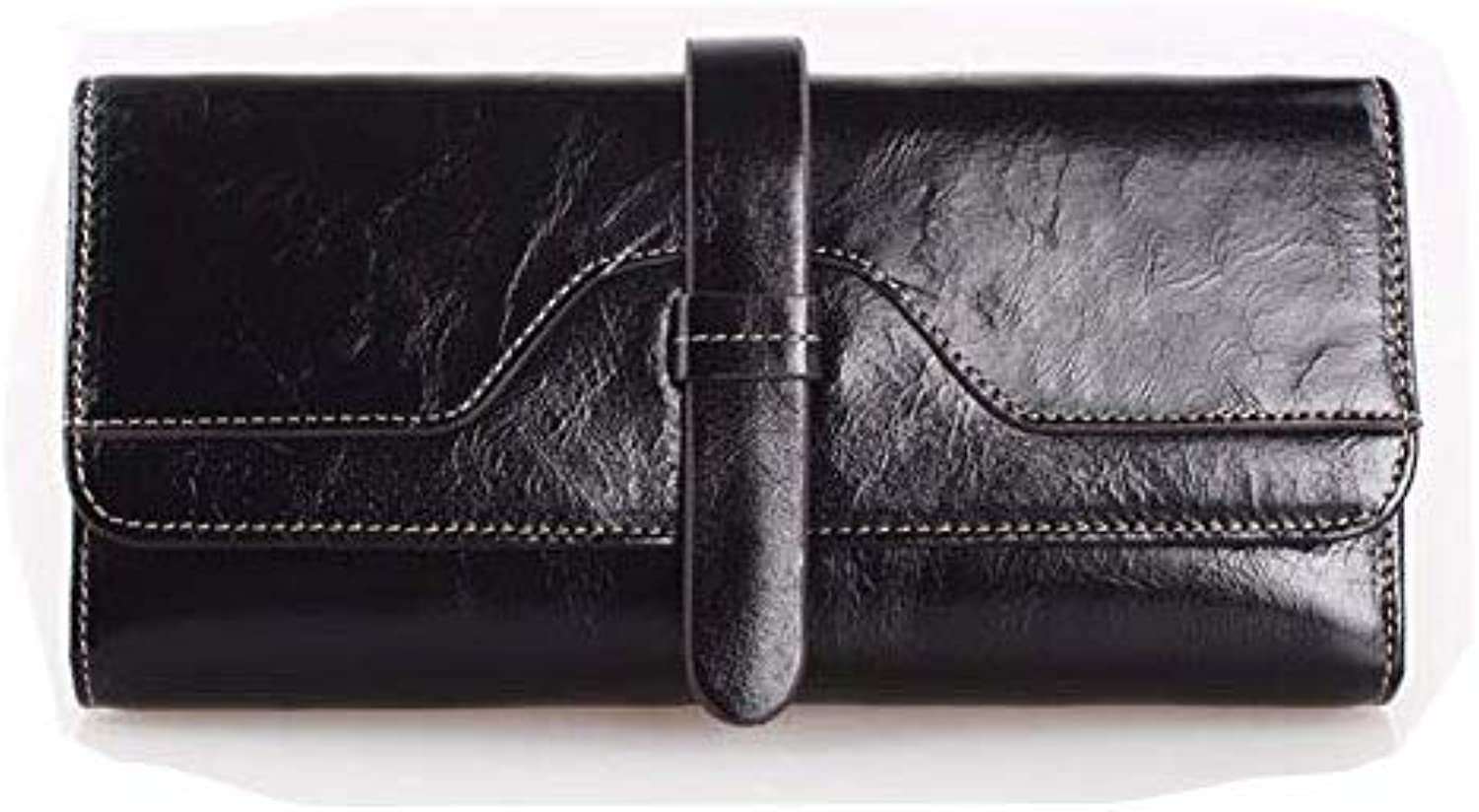 Surnoy Ladies Wallet, Oil Wax Leather Wallet, European and American Retro, Long Covered Leather,Black