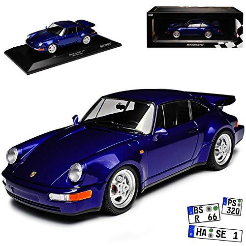 Minichamps Porsche 911 964 Turbo Coupe Blau 1988-1994 limitiert 1 von 500 1/18 Modell Auto mit individiuellem Wunschkennzeichen
