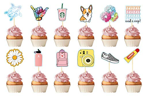 VSCO Cupcake Toppers Birthday Party Supplies for Kids,Handmade and Delicated Your Cake Table Party Supplies Set of 24