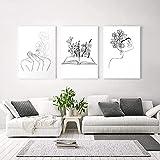 YANHUA Cuadro de pared con dibujo lineal en blanco y negro con flores abstractas, arte de pared para salón, sin marco (30 x 50 cm x 3)