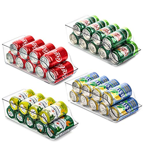 4 Pack Soda Can Organizer for Refrigerator, Fridge Organizer Bins for Freezer, Kitchen, Pantry, Countertops, Cabinets, Clear Plastic Canned Food Dispenser, Beverage Holder, Food Safe