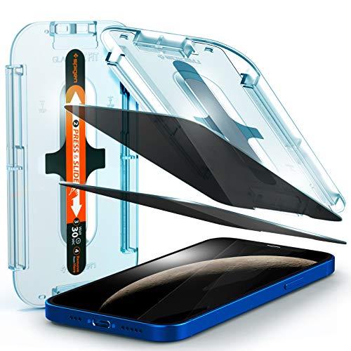 Spigen, 2 Stück, Panzerglas Schutzfolie kompatibel mit iPhone 12 / iPhone 12 Pro, 6.1 Zoll, Glas.tR EZ Fit, Schablone für Installation, Privacy Schutz, Hüllenfreundlich, iPhone 12/12 Pro Schutzfolie