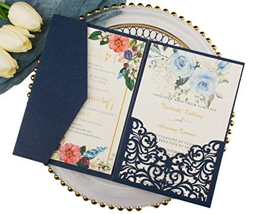 1set 5x7 inch 250gsm Navy Blue Laser Cut Hollow Vine tri fold Pocket Wedding Invitations Cards with Envelopes for Wedding Bridal Shower Invites