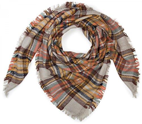styleBREAKER quadratischer XXL Schal, Deckenschal mit schottischem Tartan Plaid Karo Muster und Fransen, Unisex 01018136, Farbe:Creme-Braun-Orange-Gelb