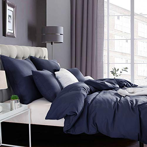 RUIKASI 4PCS King Size Duvet Cover Sets with Fitted Sheet (150 x 190 + 40 cm), Non-Iron Brushed Microfiber Navy Blue Duvet Covers with 2 Pillowcases, Modern Style Hypoallergenic Bedding Set King