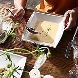 MALACASA, Serie Blance, 60 TLG. CremeWeiß Porzellan Geschirrset Kombiservice Tafelservice mit je 12 Kaffeetassen, 12 Untertassen, 12 Dessertteller, 12 Suppenteller und 12 Flachteller - 3