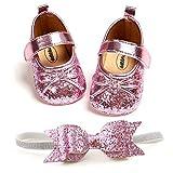 EDOTON Bébé Fille Mary Jane Flats Chaussures avec Bandeau Cadeau Set Scintillant Brillant Bowknot Princesse Fête Robe Chaussures Printemps Premier Pas Chaussures 0-18 Mois