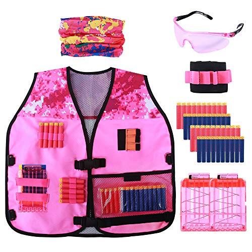 Astory Kids Tactical Vest, 47er Pack Tactical Vest Jacket Kit für Nerf Guns N-Strike Elite-Serie mit 40er Pack Nachfüllpfeilen,2 Dart Reload Clips,2 Armband,1 Schutzbrille,1 Bunte Maske für Mädchen