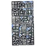 FUGAPNOE Impresión de uñas Placa de Acero Impreso Halloween Nail Art Placas de Estampado de Placas de Acero Inoxidable Plantilla de impresión para el diseño de Clavo DIY 6pcs