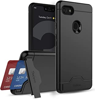 Teelevo Wallet Case for Google Pixel 3 XL, Dual Layer Case with Card Slot Holder and Kickstand for Google Pixel 3 XL (2018) - Black