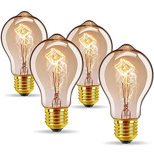 KANGLE-DERI Retro Edison A19 Tungsteno Bombilla 40W, Bar E27 Lámpara de decoración de iluminación Interior, Vidrio ámbar 220V 2000k Blanco cálido (4 Paquetes) [Clase de energía A +]