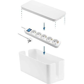 Electraline 300170, Caja Organizadora de Cables con Regleta Base Multiple de 5 tomas con interruptor, cable 1,5 metros, Blanco: Amazon.es: Bricolaje y herramientas