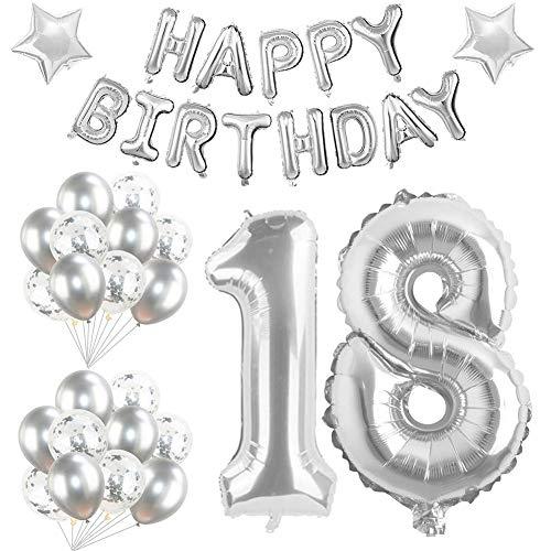 18 Globos de Cumpleaños Decoracion Niña Niño 18 Año de Cumpleaños Decoracion 18 Fiestas de Cumpleaños Decoracion Helio Globos Numeros 18 Gigantes Decoración de Fiesta de 18 Cumpleaños Plata