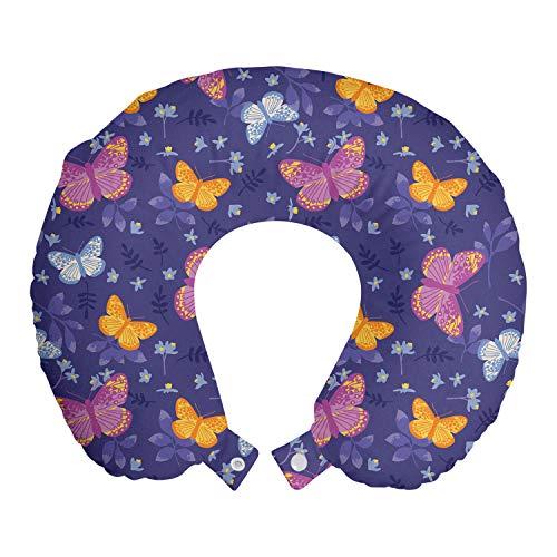 ABAKUHAUS Mot Reiskussen, Vlinders vliegen in Field, Reisaccessoire met Geheugenschuim voor Vliegtuig en Auto, 30 cm x 30 cm, Blue Violet Multicolor