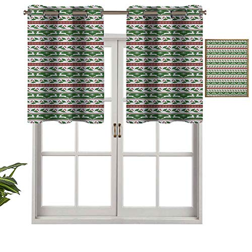 Grommet Top Curtain Panels Valances Jumping Reindeers Border with Xmas Mistletoe Poinsettia Flower, Set of 1, 52'x18' Thermal Insulated for Living Room