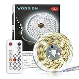 Wobsion Tira de luces LED de 5 m, color blanco frío, con mando a distancia RF y adaptador con certificación UL, 6000 K, 300 ledes, tira LED blanca para armario, cocina, salón, despacho, etc.